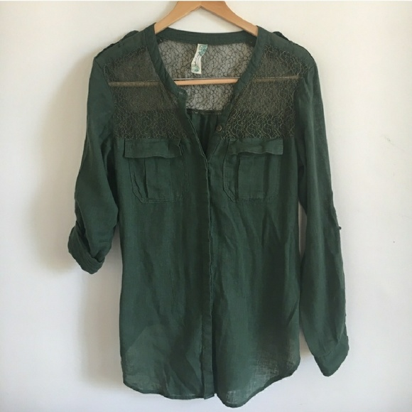 9e86b00b Free People Tops - Free People Green Lace Inset Button Down Top